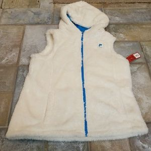 White fuzzy Fila vest with hood